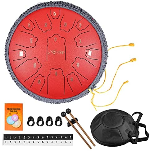 AETOO Steel tongue drum 14 inchs 15 notes D major Percussion instrument Kit Carry bag with Music book for Concert, Children's Music Enlightenment,for adults or biginner,Yoga Meditation